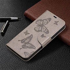 Leather Case Stands Flip Cover L02 Holder for Nokia 3.4 Gray