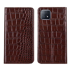 Leather Case Stands Flip Cover L02 Holder for Oppo A73 5G Brown