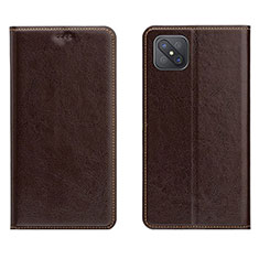 Leather Case Stands Flip Cover L02 Holder for Oppo Reno4 Z 5G Brown