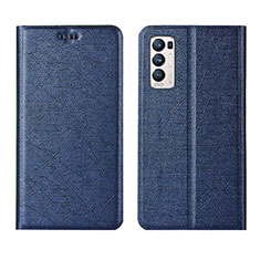 Leather Case Stands Flip Cover L02 Holder for Oppo Reno5 Pro+ Plus 5G Blue