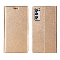 Leather Case Stands Flip Cover L02 Holder for Oppo Reno5 Pro+ Plus 5G Gold