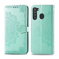 Leather Case Stands Flip Cover L02 Holder for Samsung Galaxy A21 Matcha Green
