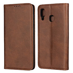 Leather Case Stands Flip Cover L02 Holder for Samsung Galaxy A30 Brown