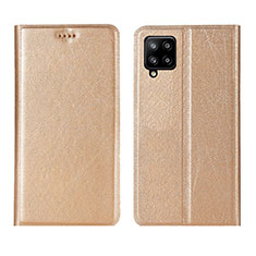 Leather Case Stands Flip Cover L02 Holder for Samsung Galaxy A42 5G Gold