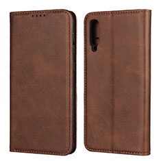 Leather Case Stands Flip Cover L02 Holder for Samsung Galaxy A50 Brown