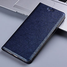 Leather Case Stands Flip Cover L02 Holder for Samsung Galaxy A81 Blue