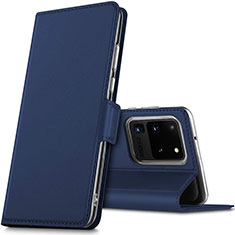 Leather Case Stands Flip Cover L02 Holder for Samsung Galaxy S20 Ultra 5G Blue