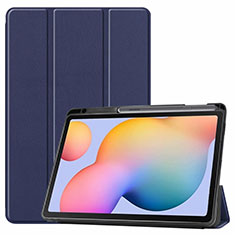 Leather Case Stands Flip Cover L02 Holder for Samsung Galaxy Tab S6 Lite 10.4 SM-P610 Blue