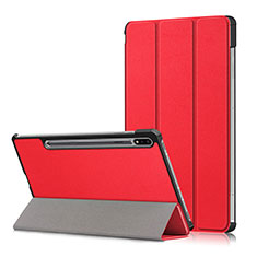 Leather Case Stands Flip Cover L02 Holder for Samsung Galaxy Tab S7 Plus 12.4 Wi-Fi SM-T970 Red