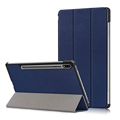 Leather Case Stands Flip Cover L02 Holder for Samsung Galaxy Tab S7 Plus 5G 12.4 SM-T976 Blue