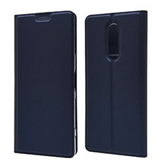 Leather Case Stands Flip Cover L02 Holder for Sony Xperia 1 Blue