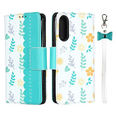 Leather Case Stands Flip Cover L02 Holder for Sony Xperia 10 II Cyan