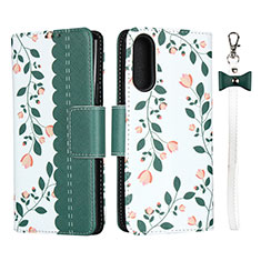 Leather Case Stands Flip Cover L02 Holder for Sony Xperia 10 II Green