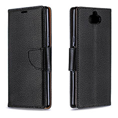 Leather Case Stands Flip Cover L02 Holder for Sony Xperia 10 Plus Black