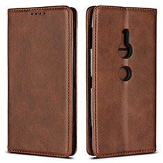 Leather Case Stands Flip Cover L02 Holder for Sony Xperia XZ2 Brown