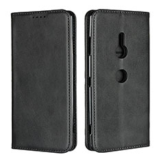 Leather Case Stands Flip Cover L02 Holder for Sony Xperia XZ3 Black