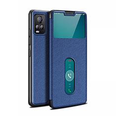 Leather Case Stands Flip Cover L02 Holder for Vivo V20 Pro 5G Blue