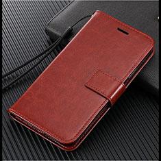 Leather Case Stands Flip Cover L02 Holder for Vivo X50 Lite Brown