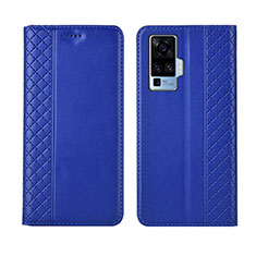 Leather Case Stands Flip Cover L02 Holder for Vivo X50 Pro 5G Blue