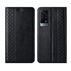 Leather Case Stands Flip Cover L02 Holder for Vivo X60 5G Black