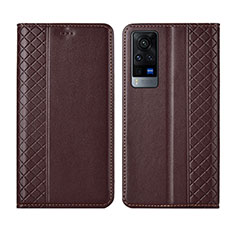 Leather Case Stands Flip Cover L02 Holder for Vivo X60 5G Brown
