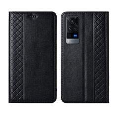 Leather Case Stands Flip Cover L02 Holder for Vivo X60 Pro 5G Black