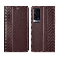 Leather Case Stands Flip Cover L02 Holder for Vivo X60 Pro 5G Brown