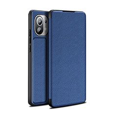Leather Case Stands Flip Cover L02 Holder for Xiaomi Mi 11 5G Blue