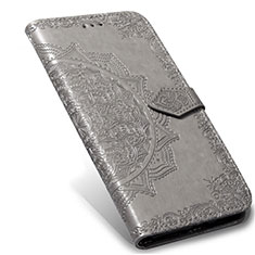 Leather Case Stands Flip Cover L02 Holder for Xiaomi Mi Note 10 Lite Gray