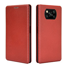 Leather Case Stands Flip Cover L02 Holder for Xiaomi Poco X3 NFC Brown