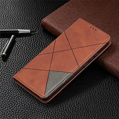 Leather Case Stands Flip Cover L02 Holder for Xiaomi Redmi 9C Brown