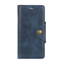 Leather Case Stands Flip Cover L03 Holder for Alcatel 1 Blue