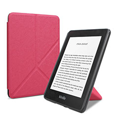 Leather Case Stands Flip Cover L03 Holder for Amazon Kindle 6 inch Hot Pink