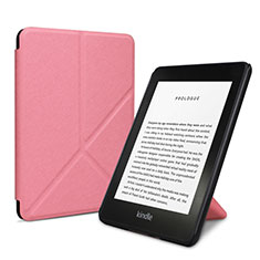 Leather Case Stands Flip Cover L03 Holder for Amazon Kindle 6 inch Pink