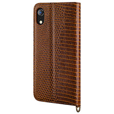 Leather Case Stands Flip Cover L03 Holder for Apple iPhone XR Brown