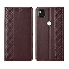Leather Case Stands Flip Cover L03 Holder for Google Pixel 4a Brown