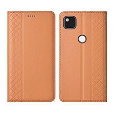 Leather Case Stands Flip Cover L03 Holder for Google Pixel 4a Orange
