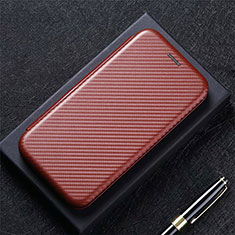Leather Case Stands Flip Cover L03 Holder for Google Pixel 5 Brown