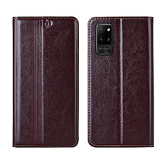 Leather Case Stands Flip Cover L03 Holder for Huawei Honor Play4 Pro 5G Brown