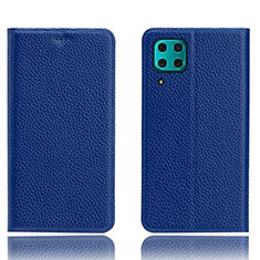 Leather Case Stands Flip Cover L03 Holder for Huawei P40 Lite Blue