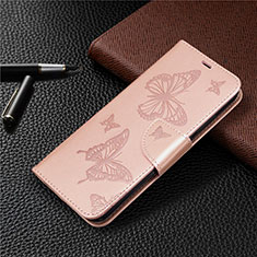 Leather Case Stands Flip Cover L03 Holder for Huawei P40 Lite E Rose Gold