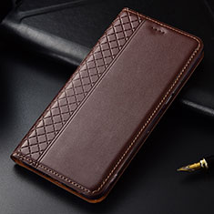 Leather Case Stands Flip Cover L03 Holder for LG G8 ThinQ Brown