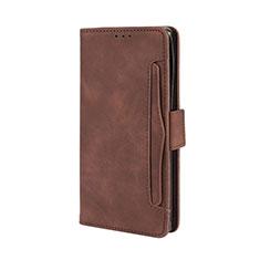 Leather Case Stands Flip Cover L03 Holder for Motorola Moto Edge Plus Brown