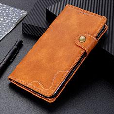 Leather Case Stands Flip Cover L03 Holder for Motorola Moto G 5G Brown