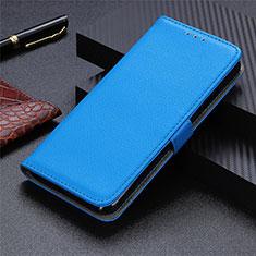 Leather Case Stands Flip Cover L03 Holder for Motorola Moto G9 Plus Sky Blue