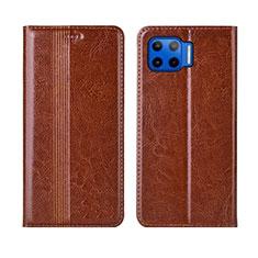 Leather Case Stands Flip Cover L03 Holder for Motorola Moto One 5G Light Brown