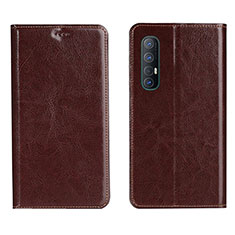 Leather Case Stands Flip Cover L03 Holder for Oppo Find X2 Neo Brown