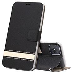 Leather Case Stands Flip Cover L03 Holder for Oppo Reno4 Z 5G Black