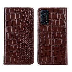 Leather Case Stands Flip Cover L03 Holder for Oppo Reno5 5G Brown