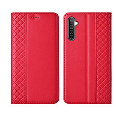 Leather Case Stands Flip Cover L03 Holder for Realme XT Red